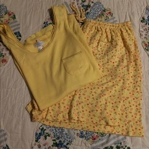 Cute Yellow Floral 2pc PJ Short and Tank Set